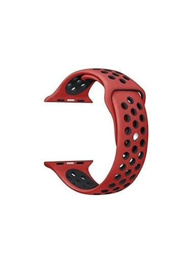 Bludfire Apple Watch Silikon Delikli Spor Kordon Kayış 1 2 3 4 5 Seri 42/44Mm Kırmızı /Siyah Kırmızı